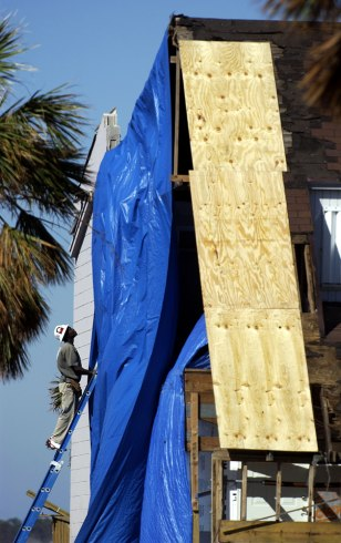 Roof construction on a home in Pensacola Beach, Fla.