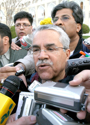 Saudi Arabian Oil Minister Naimi speaks with journalists at Abassi hotel before start of OPEC Conference in Isfahan