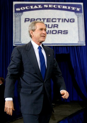 President Bush walks onstage to speak about Social Security reform in Louisiana