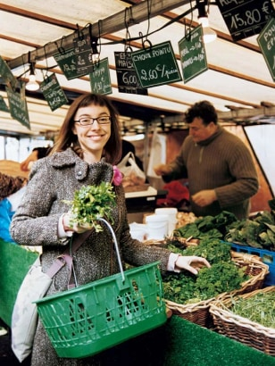 Clotilde Dusoulier, getting her weekly dose of organic herbs at Marché des Batignolles