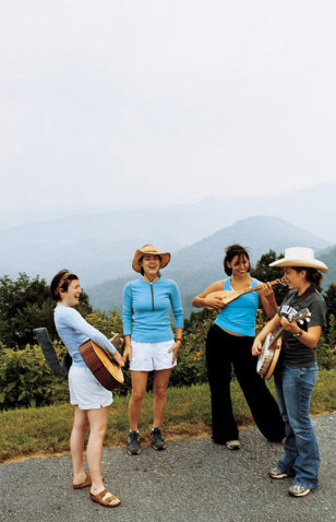 Road-trippers on the Blue Ridge Parkway who got inspired by the scenery and decided to make some music (at least until the guitar strap broke)