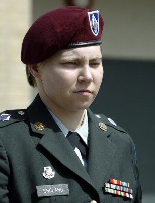 US Army PFC Lynndie England leaves her court martial hearing after pleading guilty at Fort Hood Texas