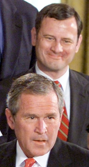 US PRESIDENT GEORGE W BUSH STANDS WITH JUDICIAL APPOINTEES AT WHITE HOUSE