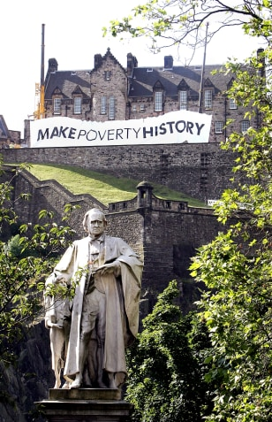 Image: Make Poverty History march in Edinburgh.