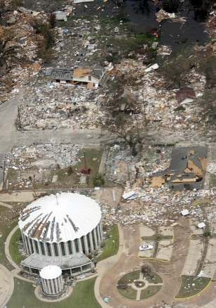 Block is destroyed by hurricane Katrina in Biloxi, Mississippi