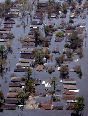 Aerial view of homes in New Orleans shows widespread flooding after Hurricane Katrina struck