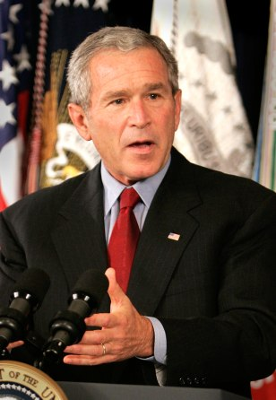 US President George W. Bush speaks from