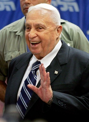 Israeli Prime Minister Ariel Sharon smiles before his narrow win to continue as head of the Likud party.