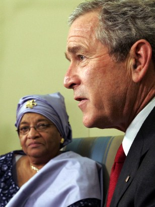 GEORGE BUSH, ELLEN JOHNSON SIRLEAF