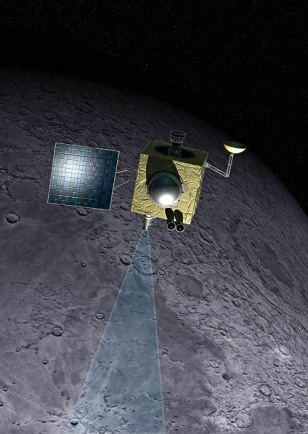 illustration of India's Chandrayaan-1 lunar orbiter