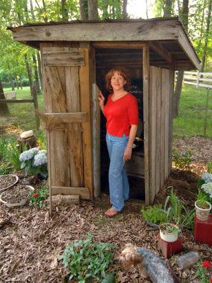 Janie Peel and outhouse