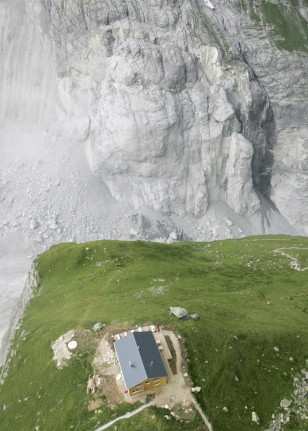 Aerial view of the slab of rock that was poised to break away from the Eiger mountain near Grindelwald in the Bernese Oberland