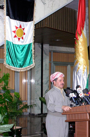 Iraq's Kurdistan president Barzani speaks during a conference in Arbil