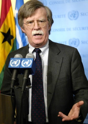 US Ambassador to the UN Bolton speaks after the UN Security Council voted to impose financial and weapons sanctions on North Korea in New York