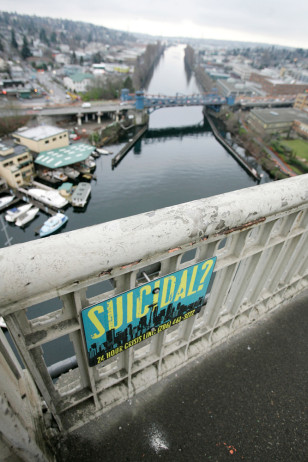 Image: Aurora Bridge suicide-prevention sign