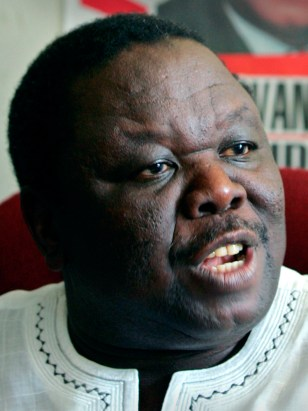 File photo of Morgan Tsvangirai, the leader of opposition MDC, during a news conference in Harare