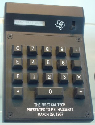 IMAGE: The first handheld calculator, Texas Instruments' Cal Tech, made its debut as the Summer of Love was just beginning.