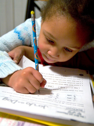 Image: Student doing homework