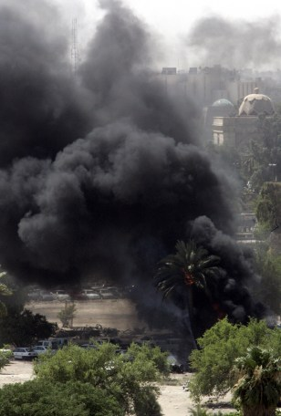 IMAGE: Billowing smoke from a car bomb in Baghdad.
