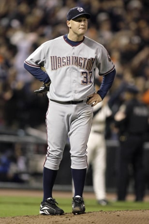 Washington Nationals pitcher Mike Bacsik after giving up Barry Bonds' 756th home run in the fifth inning of their MLB National League baseball game against the San Francisco Giants in San Francisco