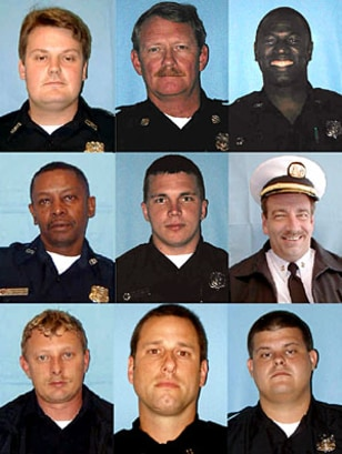 "Nine firefighters lost their lives in the Charleston blaze. Top row, from left: Bradford ""Brad"" Baity, Capt. Mike Benke, Melvin Champaign. Middle row: James ""Earl"" Drayton, Michael French, Capt. William ""Billy"" Hutchinson. Bottom row: Mark Kelsey, Capt. Louis Mulkey, Brandon Thompson."