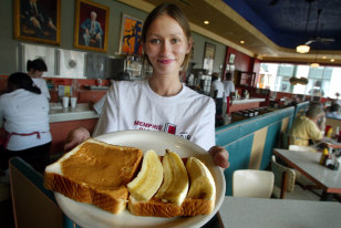 Image: Julia Flowers with peanut butter and banana sandwich
