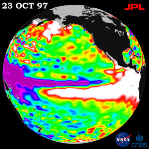 Image:  sea surface temperature map