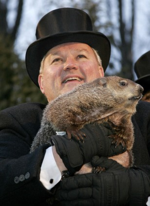 Image: Bill Deeley holds Punxsutawney Phil