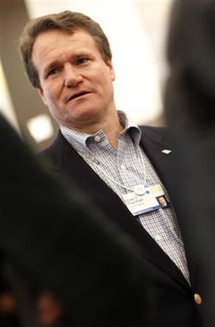 Bank of America CEO Moynihan is pictured at the congress centre of Davos during the WEF