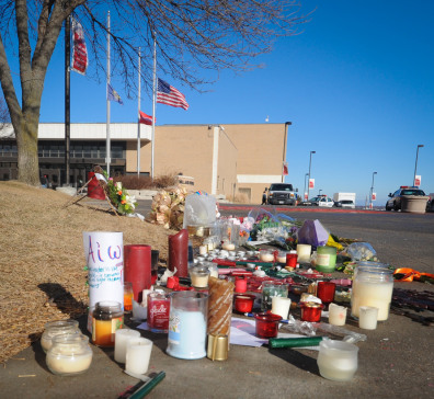 Image: Memorial outside Millard South High School