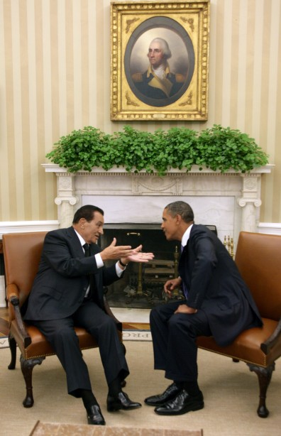 Image: Egypt's President Hosni Mubarak at the White House in Sept. 2010 with President Obama