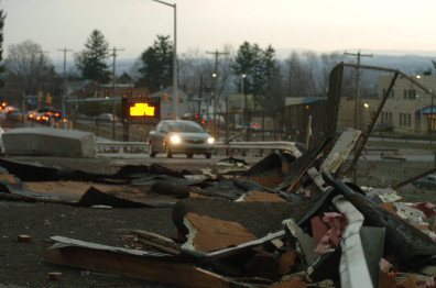 Image: Debris chokes a driveway at Hempfield Area Senior High School ain Pa.