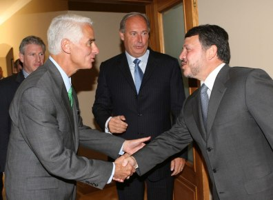 Image: Harry Sargeant III, center, with Charlie Crist, left, and Jordan's King Abdullah II