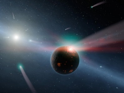 Image: Artist's conception of a storm of comets around a star