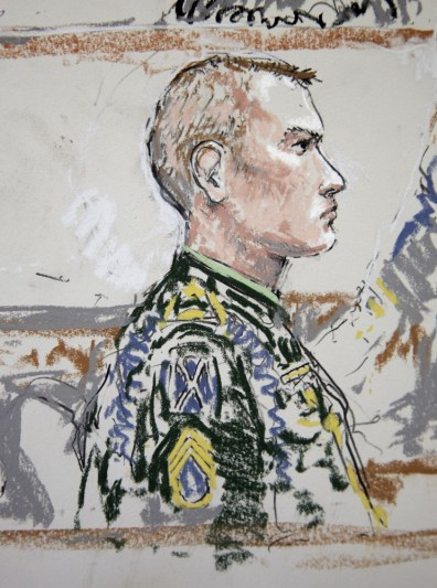 Image: U.S. Army Staff Sgt. Calvin Gibbs is shown in this courtroom sketch