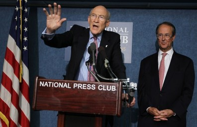 Image: Former Sen. Alan Simpson (R-WY) (L) and former White House Chief of Staff under the Clinton Administration Erskine Bowles (R)