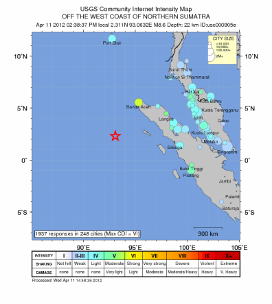 Image: Map of earthquake off coast of Sumatra.
