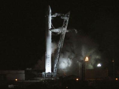 Image: The SpaceX Falcon 9 test rocket launch is pictured at Complex 40 at the Cape Canaveral Air Force Station in Cape Canaveral