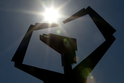 Image: Sun on sculpture in Wichita