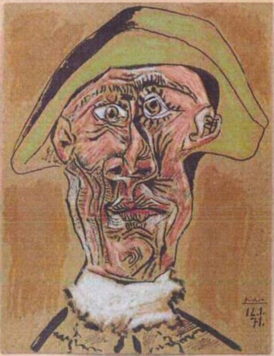 Image: The painting 'Harlequin Head' by Pablo Picasso, one of seven paintings stolen from a museum in the Netherlands.