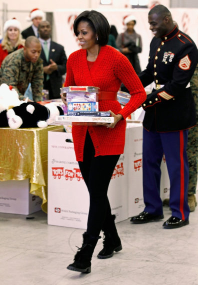 Image: Michelle Obama Visits A Toys For Tots Distribution Center