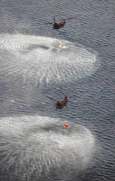 Image: Japanese military helicopters scoop water.