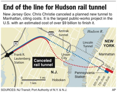 Image: Map shows location of canceled train tunnel that would have connected Manhattan to New Jersey