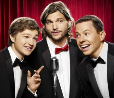 IMAGE: Angus T. Jones, Ashton Kutcher, Jon Cryer