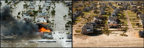 Image: At left, a home burns during Hurrican Ike, Friday, Sept. 12, 2008, in Galveston, Texas. At right, the same scene is photographed Aug. 16, 2009