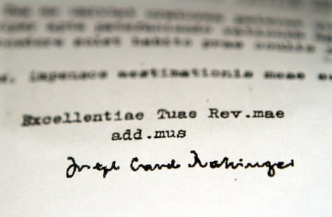 Image: A detail of a 1985 letter obtained by the Associated Press signed by then-Cardinal Joseph Ratzinger.