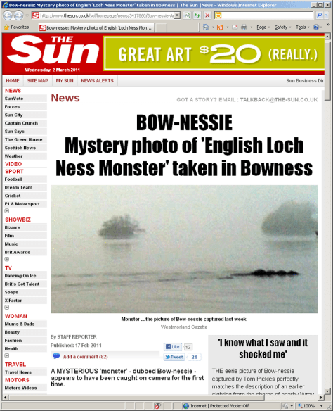 Image: Screensnap of The Sun's use of the Bow-nessie photograph