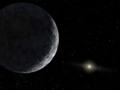 Image: Artist rendering og the dwarf planet, Eris, with the sun in the background.