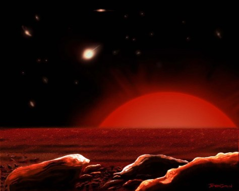 Image: Artist's conception of the view of a hypothetical planet around a distant red giant star