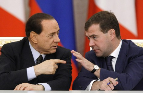 Image: Silvio Berlusconi, left, and Dmitry Medvedev